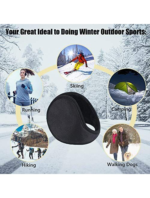 LISM 2020 Upgraded Bigger Ear Warmers for Men and Women - The Warmest Fleece Plush Winter Earmuffs and Super Soft Ear Cover Behind Neck for Outdoor Black