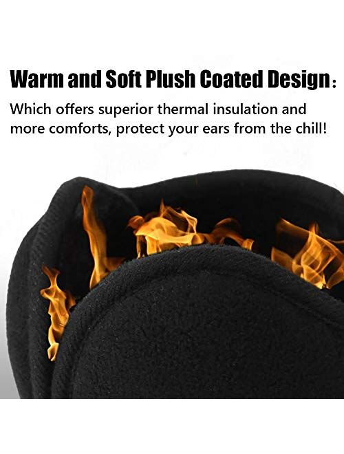 LISM Unisex Folding Ear Warmers for Men and Women, The Warmest Fleece Plush Winter Earmuffs and Super Soft Ear Cover Behind Neck for Outdoor Black
