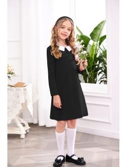Arshiner Girls Long Sleeve Vintage Peter Pan Collar T-Shirt Dress Age 4-13 Years