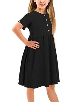 GORLYA Girl's Short Sleeve Button Up Pleated Waist Loose Casual Linen Midi Dress with Pockets for 4-12 Years Kids