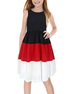 GORLYA Girl's Sleeveless Triple Colorblock Patchwork Casual Summer Midi Dress with Pockets for 4-12 Years Kids