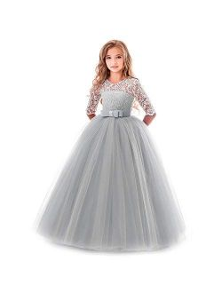 Flower Girl Lace Bridesmaid Dress 3/4 Sleeves Pageant Ball Gowns Princess Puffy Tulle Wedding Party Dresses
