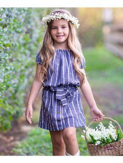 Blue-Gray Stripe Peasant Top & Pocket Denim Skirt - Toddler & Girls