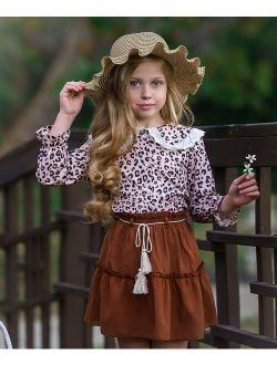 Beige Leopard Lace Placket Long-Sleeve Top & Brown Skirt - Toddler & Girls