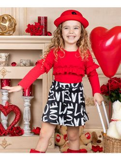 Red Ruffle Long-Sleeve Top & Black 'Love' Button-Front Skirt - Toddler & Girls