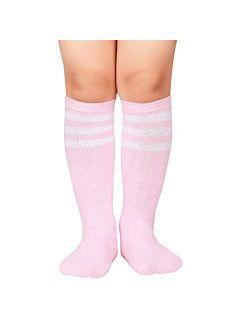 Durio Kids Soccer Socks Soft Cotton Toddler Soccer Socks for Boys and Girls Knee High Sports Tube Socks