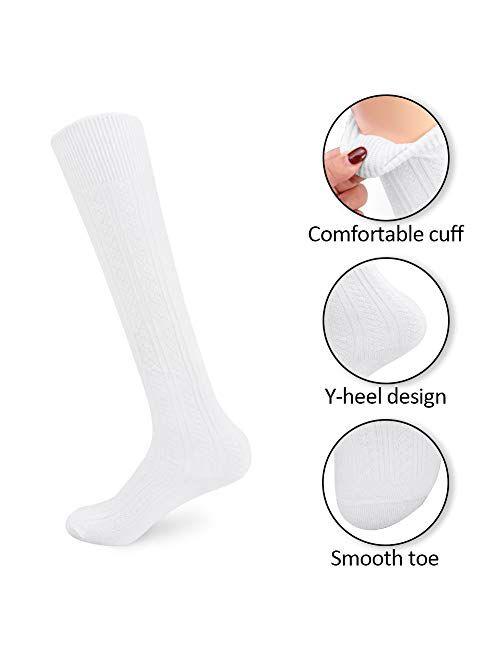 3 Pairs Girls' Knee High Socks Cable Knit 10-16 Years Uniform Tube Cotton Socks