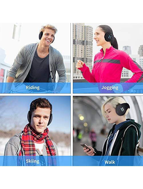 Voerou Ear Muffs Bluetooth Headphones Ear Warmers ear Muffs Headsets Foldable Unisex Fleece Ear Warmer with Microphone for Winter Outdoor Men Women and Girls/Kids (Black)