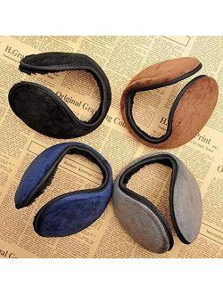 Neaer 4 PCS Unisex Men Women Faux Furry Fleece Winter Solid Soft Plush Ear Muffs Earmuffs Earwarmers-(1PC Black,1PC Coffee,1PC Gray,1PC Navy)