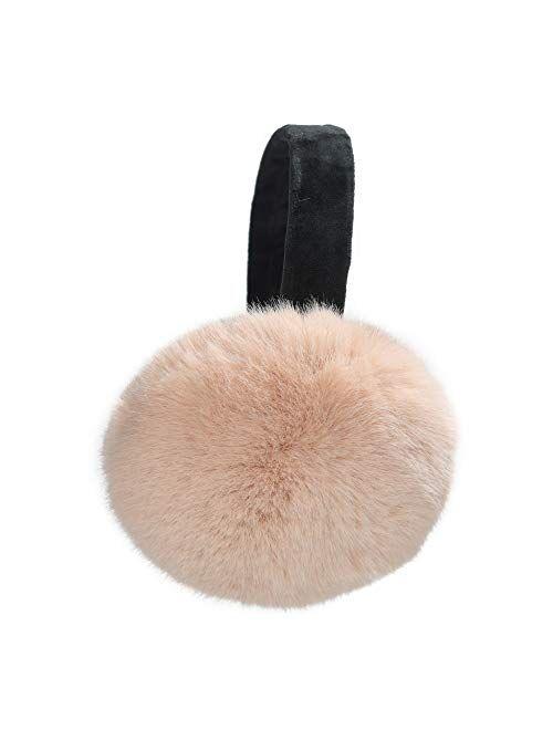 ZLYC Winter Faux Fur Foldable Earmuffs Cute Fuzzy Ear Muffs for Women Girls