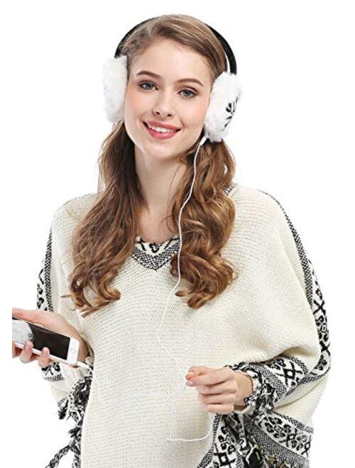 Women Lady's Earmuffs Snowflake Print Fluffy Faux Fur Trim Ear Warmers Headphones Music