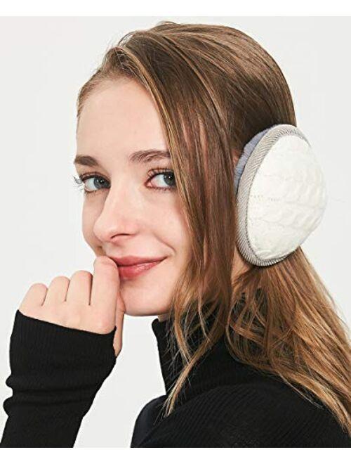 Unisex Warm Knit Women Earmuff Cashmere Winter Pure Color Earmuffs Fur Earwarmer Adjustable Wrap