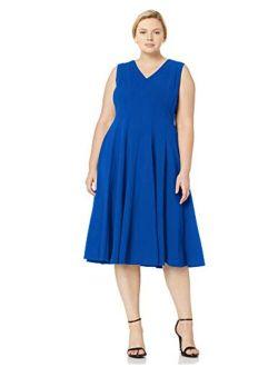 Women's Plus Size Sleeveless A-line Midi Dress With V-neckline