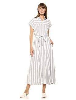 Women's Short Sleeve Button Front Shirt Dress With Self Belt