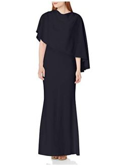 Women's Sleeveless Gown With Asymmetrical Caplet