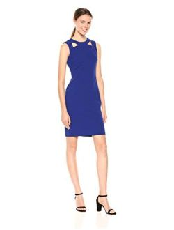 Women's Solid Sleeveless Sheath With Front Cut Out Dress