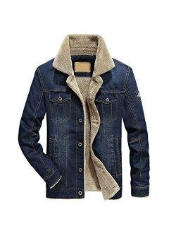 Hixiaohe Men's Rugged Button Down Sherpa Lined Distressed Denim Trucker Jacket