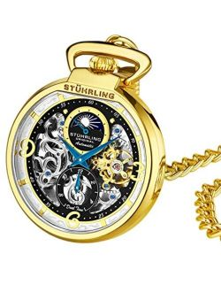 Orignal Mens Pocket Watch Automatic Watch Skeleton Watches For Men -gold Pocket Watch - Mechanical Watch With Belt Clip And Stainless Steel Chain -dual Time Am/