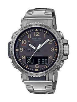 Men's Pro Trek Stainless Steel Quartz Sport Watch With Titanium Strap, Silver, 22 (model: Prw-50t-7acr)