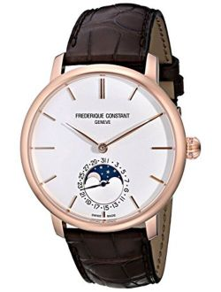 Men's Fc705x4s4 Slim Line Rose Gold-plated Automatic Watch With Brown Leather Band
