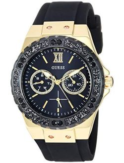Gold-tone Stainless Steel + Black Stain Resistant Watch With Day + Date Functions. Color: Black (model: U1053l7)