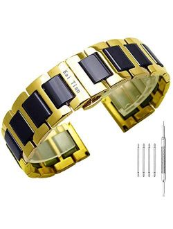 Kai Tian Stainless Steel Ceramic Watch Band Links 18mm/20mm/22mm Watch Wrist Bands Mens Watch Bracelet with Butterfly Buckle
