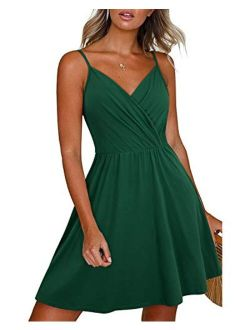 Newshows Women's Summer Dress Floral Spaghetti Strap Sleeveless V-Neck Casual Swing Sundress with Pockets