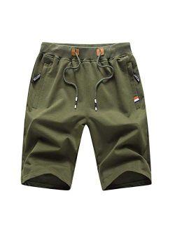 Mens Shorts Casual Workout Drawstring Shorts With Elastic Waist And Zipper Pockets