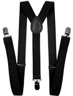 LOLELAI Suspenders for Women and Men   Elastic, Adjustable, Y-Back   Pant Clips, Tuxedo Braces
