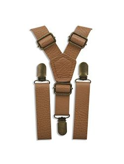 """Brown Leather Like Suspenders for Men - Wedding Outfits for Groomsmen (Vintage Tan, Brass Clips, 35""""-67"""" fits up to 6'8 made to fit Big & Tall) by London Jae Apparel"""