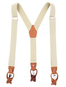MENDENG Men's Suspenders Braces Leather Strap Father/Husband's Gift 6 Buttons