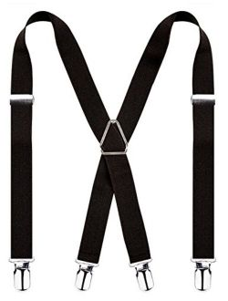 Alizeal Solid Skinny Suspenders X Shape for Men with 4 Clips