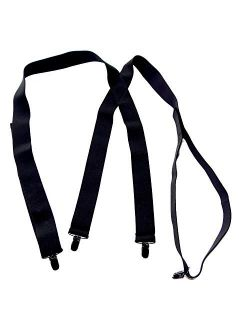 "Traditional All Black Hold-Ups 1 1/2"" Undergarment hidden Suspenders, X-back, Black No-slip Clips"