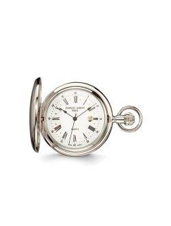 Men's Charles Hubert Chrome Finish Brass Striped Pocket Watch Xwa2746