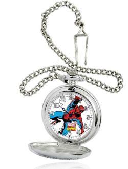 Spider-man Men's Silver Pocket Watch, Silver Chain
