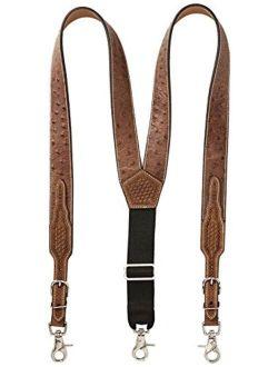 Nocona Belt Co. Men's Ostrich Print Leather Suspender