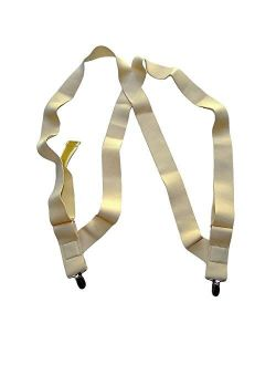 HoldUp Brand Under-Up Series Light Tan Suspenders with Patented silvertone No-Slip Clips