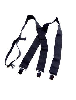 "Holdup Brand 2"" Wide Black XL hidden Undergarment Suspenders worn under your shirt with patented no-slip clips"