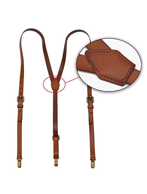 Leather Suspenders For Men, Brown Genuine Leather Suspenders Groomsmen Gifts