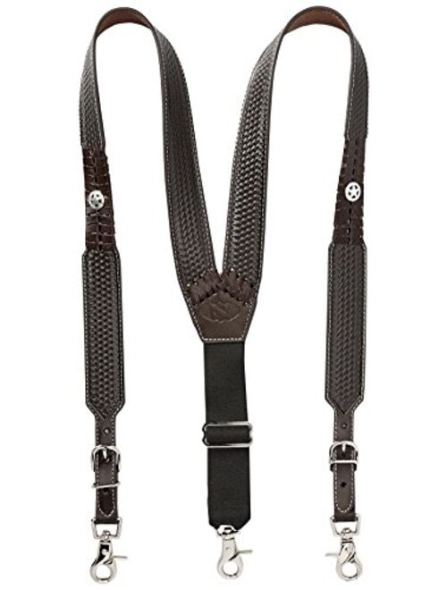 Nocona Belt Co. Men's Star Basket Leather Suspender