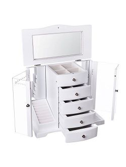 SONGMICS Wooden Jewelry Box Large Organizer with Clear Acrylic Doors and 4 Drawers, White UJOW57W