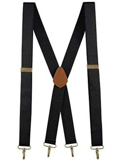 """Buyless Fashion Suspenders for Men - 48"""" Adjustable Straps 1 1/4"""" - X Back with Metal Hooks"""