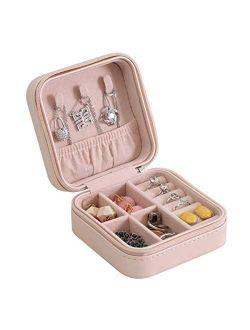 Casegrace Portable Travel Mini Jewelry Box Leather Jewellery Ring Organizer Case Storage Gift Box Girls Women