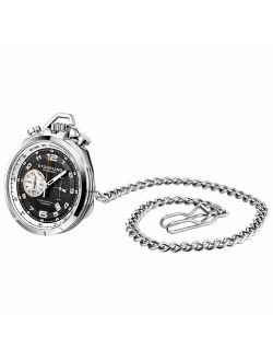 Mens Pocket Watch With Stand, Stainless Steel And Black Ip Case With Black Dial