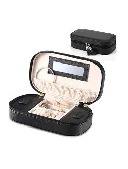Vlando Small Travel Tassel Jewelry Box Organizer - Woman Girls Faux Leather Jewelries Storage Holder for Necklaces Earrings Rings, Black