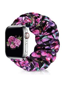 Runostrich Scrunchie Apple Watch Band Floral for iwatch 40mm 38mm, Soft Wristband Elastic Scrunchy Straps Women Bracelets Replacement Band for Apple Watch SE Series 6 5 4