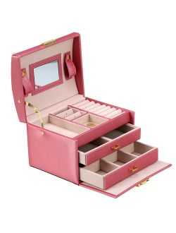 Walfront 3-Layer Girls Leather Jewelry Box and Watch Organizers, Lockable, Mirror, Pink