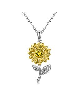 14K Real Gold Sunflower Necklace for Women, You Are My Sunshine Gold Sunflower Pendant Necklace with Crystal Birthday Anniversary Jewelry Gifts for Mom, Wife, Girlfriend