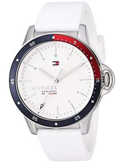 Women's Stainless Steel Quartz Watch With Silicone Strap, White, 18 (model: 1782029)