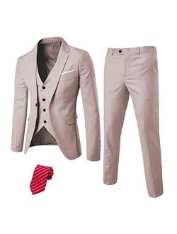 EastSide Men's Slim Fit 3 Pieces Suit, One Button Blazer Set, Jacket Vest & Pants